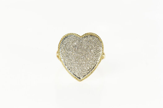 14K Pave Diamond Encrusted Heart Promise Yellow Gold Ring, Size 7.25