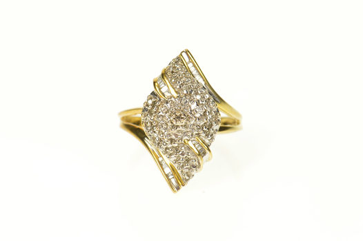 14K Pave Diamond Encrusted Wavy Statement Yellow Gold Ring, Size 7