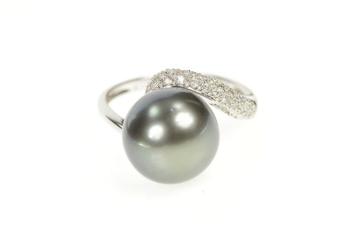 14K Pave Diamond Tahitian Pearl Bypass Cocktail White Gold Ring, Size 7