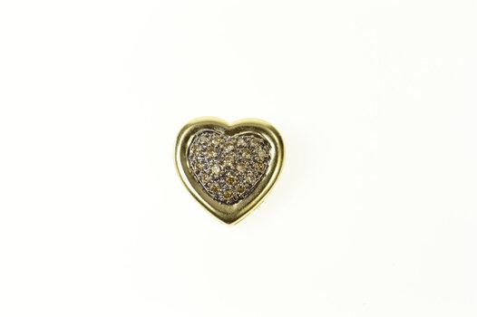 14K Pave Fancy Diamond Heart Love Symbol Yellow Gold Pendant