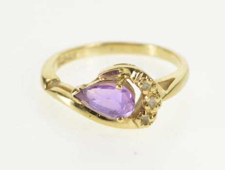 14K Pear Amethyst Curved Diamond Fashion Yellow Gold Ring, Size 6.25