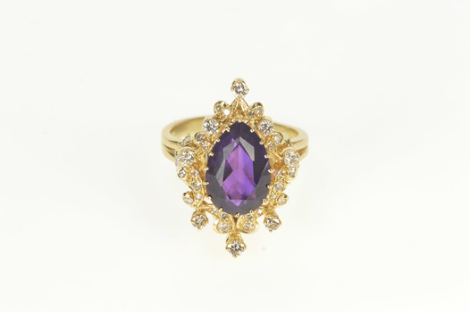 14K Pear Amethyst Diamond Cocktail Statement Yellow Gold Ring, Size 10.75