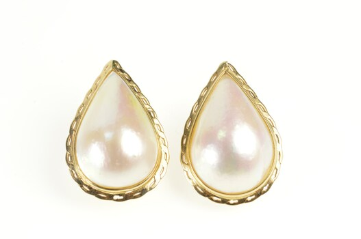 14K Pear Baroque Pearl Scalloped Trim French Clip Yellow Gold Earrings
