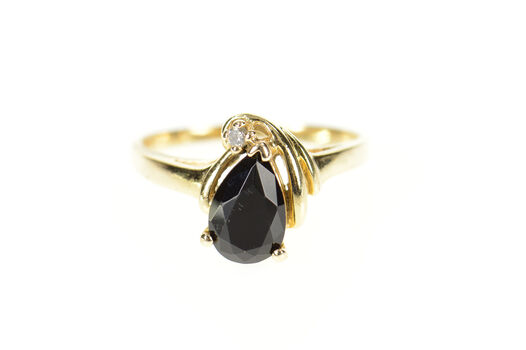 14K Pear Black Onyx Diamond Accent Yellow Gold Ring, Size 6