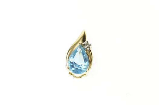 14K Pear Blue Topaz Diamond Accent Classic Yellow Gold Pendant
