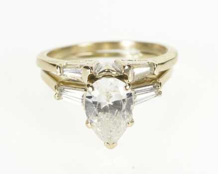 14K Pear Cut Baguette Accent Travel Bridal Set White Gold Ring, Size 6.75