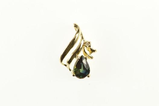 14K Pear Green Sapphire Diamond Accent Wave Yellow Gold Pendant