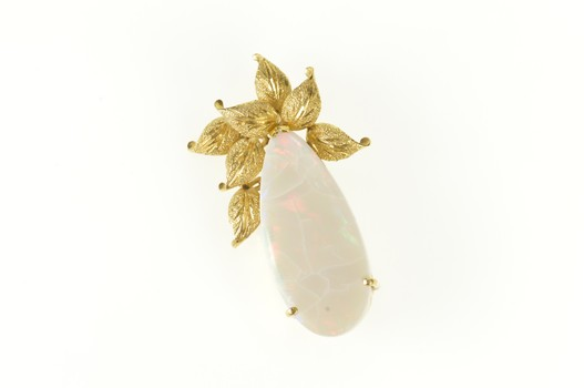 14K Pear Huge Natural Opal Leaf Cluster Statement Yellow Gold Pin/Brooch
