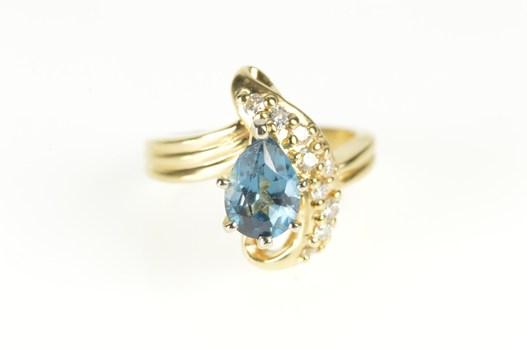 14K Pear London Topaz Diamond Statement Yellow Gold Ring, Size 5.25