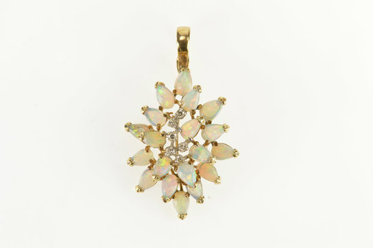 14K Pear Natural Opal Diamond Cluster Statement Yellow Gold Necklace