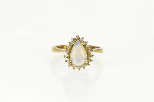 14K Pear Natural Opal Diamond Halo Engagement Yellow Gold Ring, Size 6