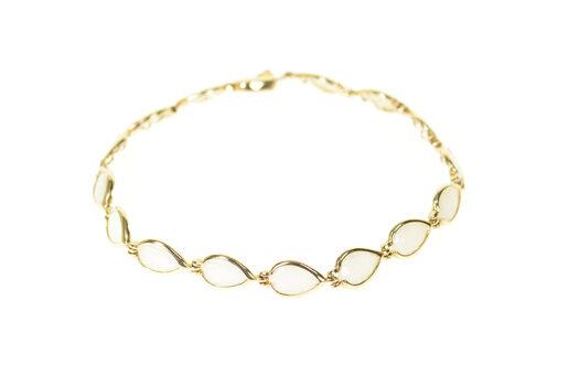 "14K Pear Natural Opal Ornate Statement Yellow Gold Bracelet 7.25"""