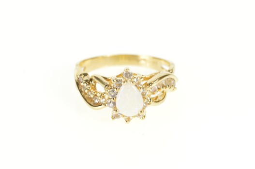 14K Pear Opal Cubic Zirconia Statement Wavy Yellow Gold Ring, Size 7.5
