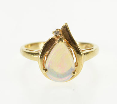 14K Pear Opal* Diamond Accented Freeform Yellow Gold Ring, Size 5.75