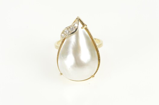 14K Pear Pearl Diamond Accent Retro Statement Yellow Gold Ring, Size 6.25