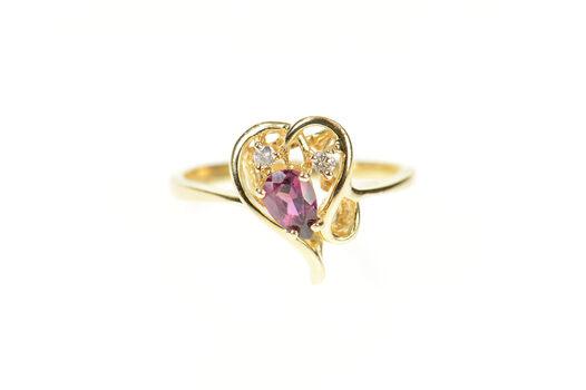 14K Pear Purple Tourmaline Diamond Accent Heart Yellow Gold Ring, Size 7.25