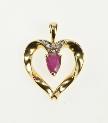 14K Pear Ruby Diamond Accent Cluster Heart Yellow Gold Pendant