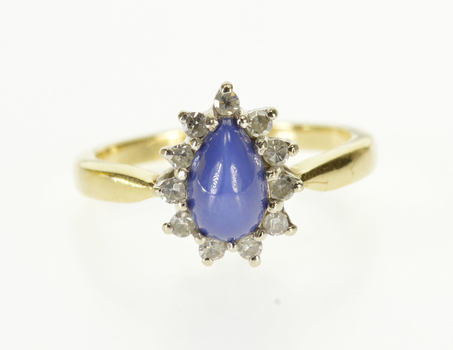 14K Pear Star Sapphire* Diamond Inset Halo White Gold Ring, Size 5