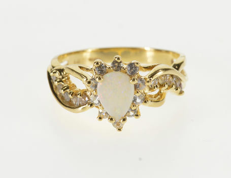 14K Pear Syn. Opal Cubic Zirconia Accent Wavy Yellow Gold Ring, Size 7.25