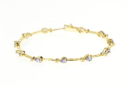 "14K Pear Tanzanite Diamond Accent Bar Link Yellow Gold Bracelet 7"""