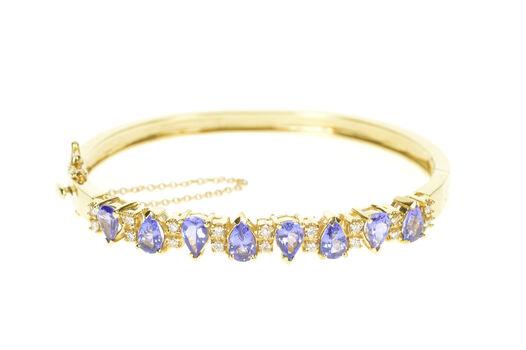 "14K Pear Tanzanite Diamond Statement Bangle Yellow Gold Bracelet 7.25"""