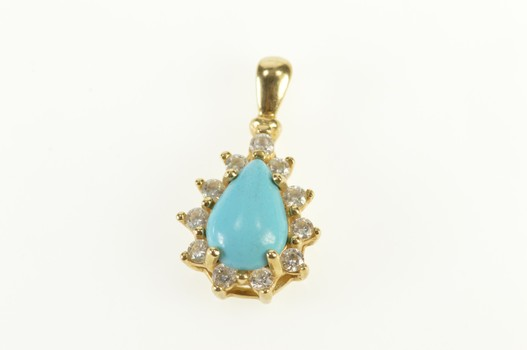 14K Pear Turquoise Cabochon Cubic Zirconia Halo Yellow Gold Pendant