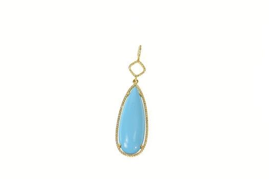 14K Pear Turquoise Drop Diamond Halo Statement Yellow Gold Pendant