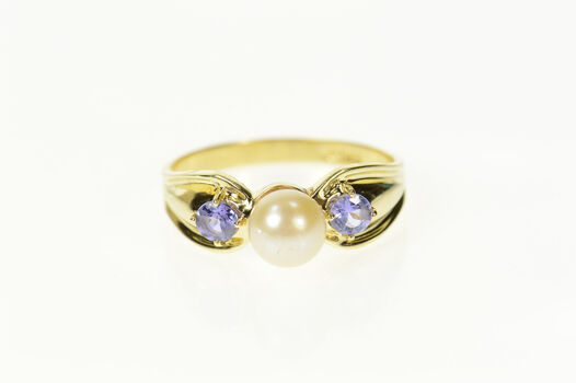 14K Pearl Amethyst Three Stone Statement Yellow Gold Ring, Size 8