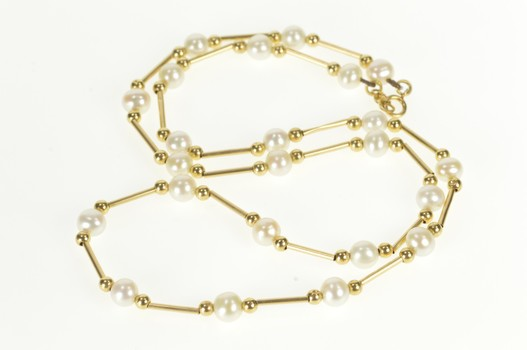 """14K Pearl Bar Round Beaded Classic Fashion Yellow Gold Necklace 17.75"""""""