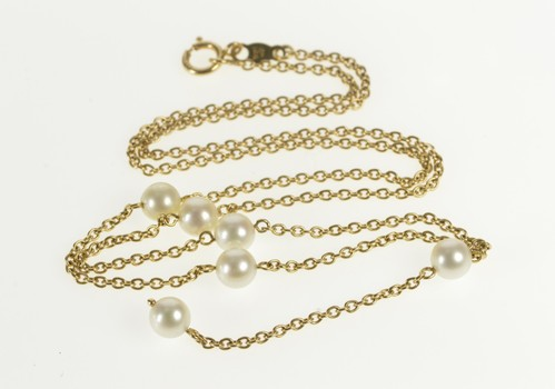 14K Pearl Beaded Cable Drop Dangle Chain Yellow Gold Necklace 15.75""