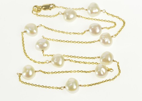 """14K Pearl Beaded Cable Link Classic Statement Yellow Gold Necklace 16"""""""