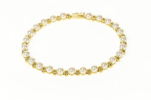 """14K Pearl Classic Grooved Link Statement Yellow Gold Bracelet 7.25"""""""