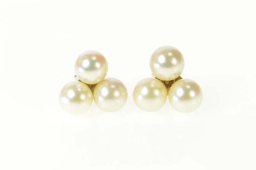 14K Pearl Cluster Triangle Statement Stud White Gold Earrings