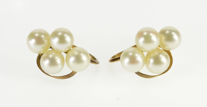 14K Pearl Cluster Wavy Curve Accent Screw Back Yellow Gold Earrings
