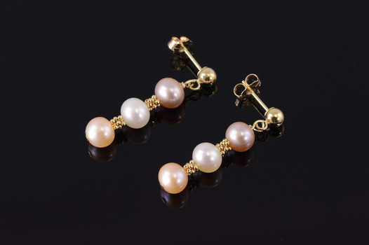 14K Pearl Dangle Tiered Beaded Post Back Yellow Gold EarRings