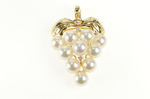14K Pearl Diamond Accent Grape Cluster Ornate Yellow Gold Pendant
