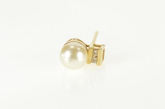 14K Pearl Diamond Accent Simple Single Stud Yellow Gold Earring