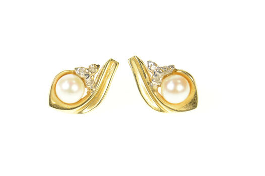 14K Pearl Diamond Cluster Accent Wavy Stud Yellow Gold Earrings