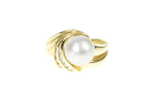 14K Pearl Diamond Ornate Swirl Cocktail Statement Yellow Gold Ring, Size 9