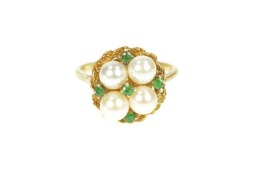 14K Pearl Emerald 1960's Retro Basket Cocktail Yellow Gold Ring, Size 6.25