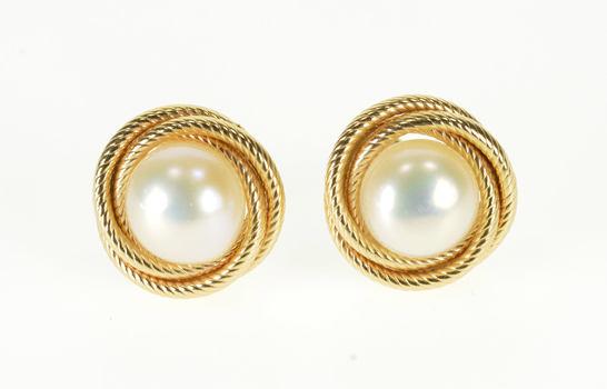 14K Pearl Fancy Textured Twist Spiral Trim Post Back Yellow Gold EarRings