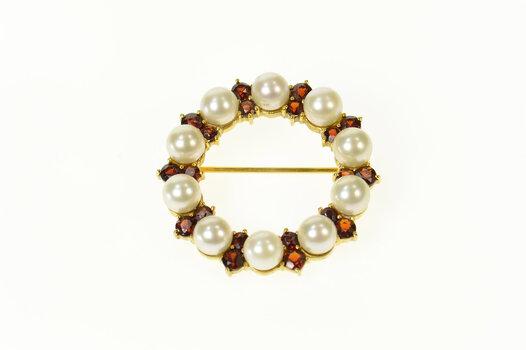 14K Pearl Garnet Circle Cluster Statement Yellow Gold Pin/Brooch