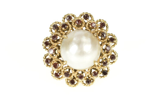 14K Pearl Garnet Halo 1960's Cocktail Statement Yellow Gold Ring, Size 5