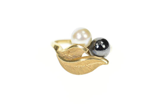 14K Pearl Hematite Retro Leaf Designs Statement Yellow Gold Ring, Size 5