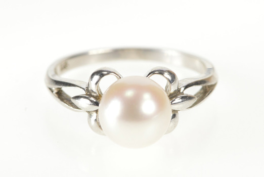 14K Pearl Inset Classic Alternative Engagement White Gold Ring, Size 5.75