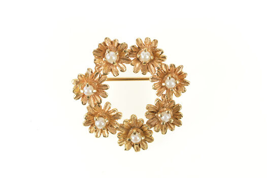14K Pearl Inset Flower Daisy Wreath Statement Yellow Gold Pin/Brooch