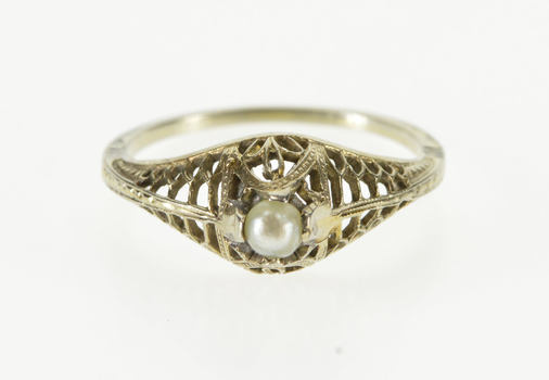 14K Pearl Inset Ornate Art Deco Filigree Statement White Gold Ring, Size 6.5