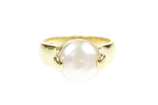 14K Pearl Inset Ornate Retro Unique Statement Yellow Gold Ring, Size 7