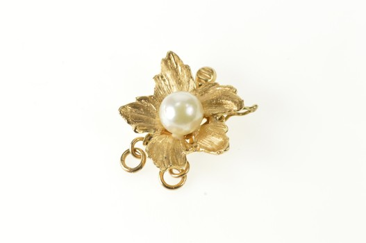 14K Pearl Inset Retro Leaf Flower Clasp Yellow Gold