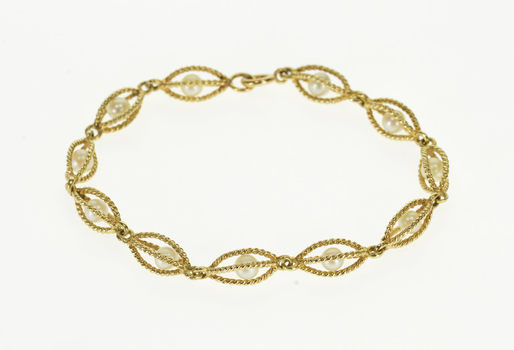 """14K Pearl Inset Rope Cage Link Chain Yellow Gold Bracelet 6.25"""""""